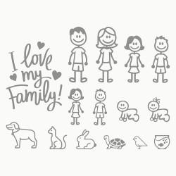 Adesivi famiglia 15 pezzi